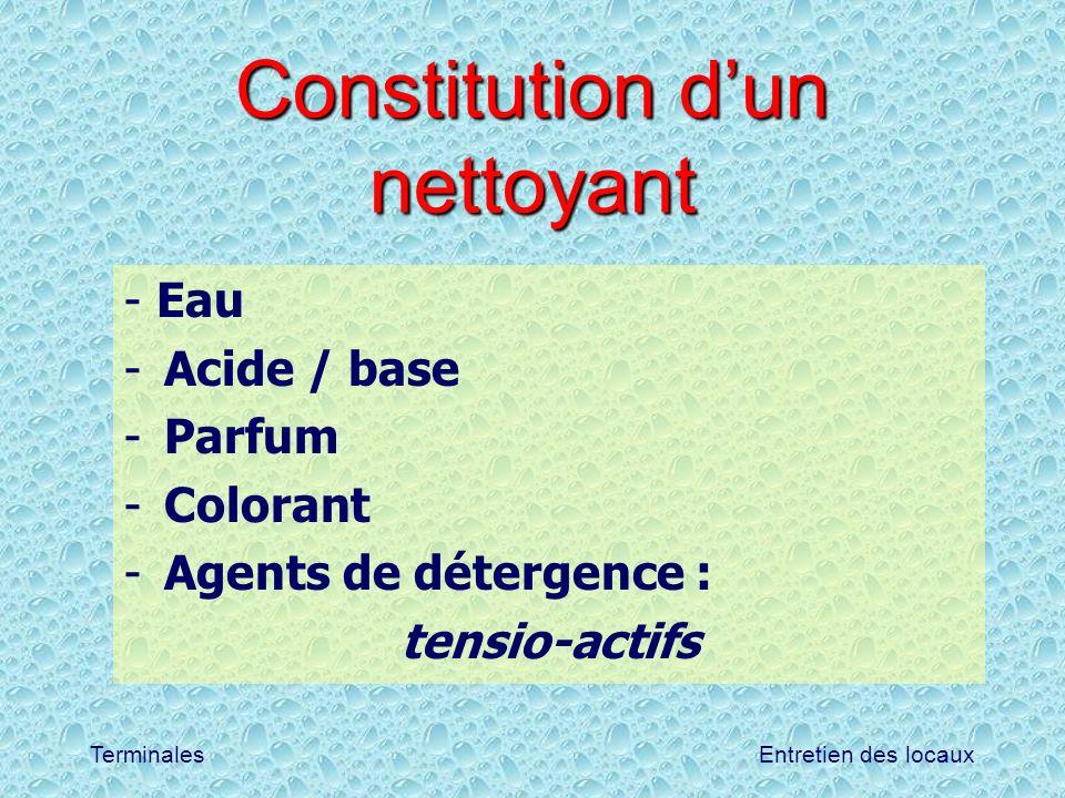 Entretien des locauxTerminales Constitution dun nettoyant - Eau -Acide / base -Parfum -Colorant -Agents de détergence : tensio-actifs