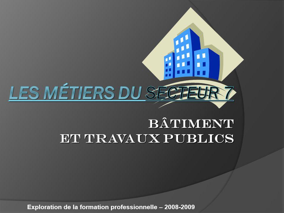BÂTIMENT ET TRAVAUX PUBLICS Exploration de la formation professionnelle – 2008-2009