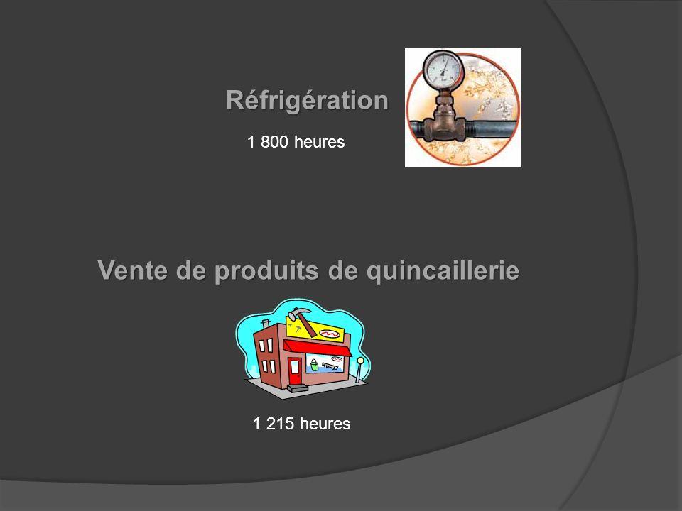 Réfrigération Vente de produits de quincaillerie 1 215 heures