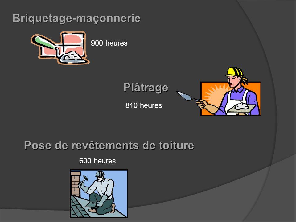 Préalables Français, anglais et math Calorifugeage Peinture en bâtiment 900 heures