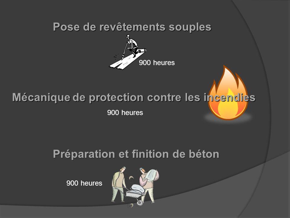 Plâtrage 810 heures Pose de revêtements de toiture Briquetage-maçonnerie 900 heures 600 heures