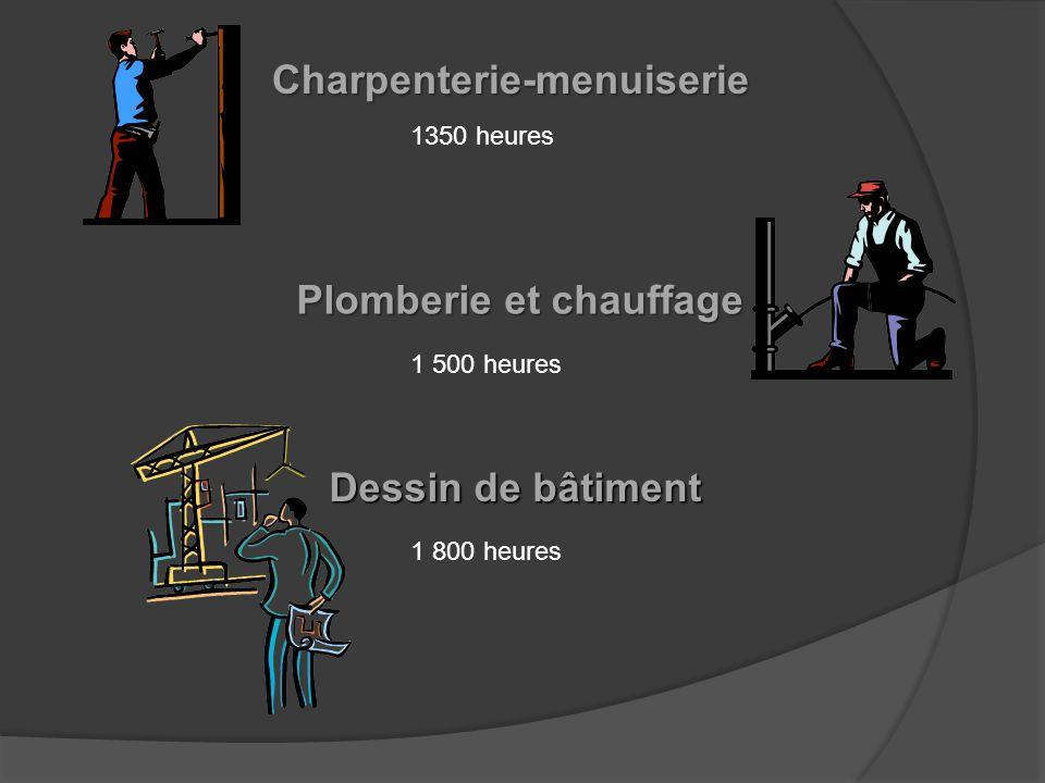 Dessin de bâtiment Plomberie et chauffage Charpenterie-menuiserie 1350 heures 1 500 heures 1 800 heures