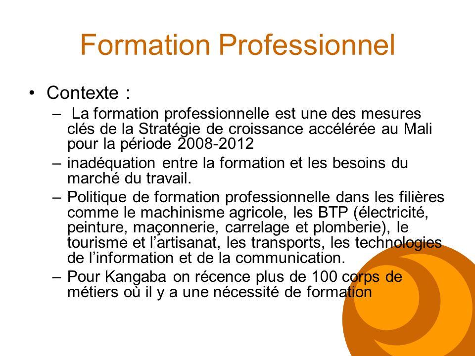 Formation Professionnel Contexte : – La formation professionnelle est une des mesures clés de la Stratégie de croissance accélérée au Mali pour la pér