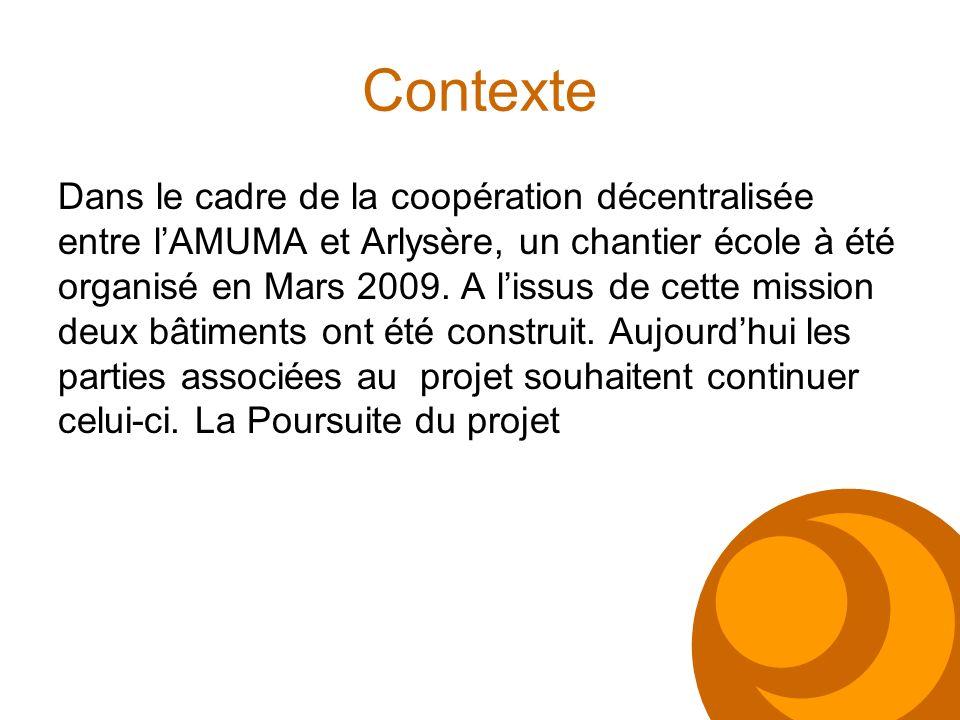 Contexte Dans le cadre de la coopération décentralisée entre lAMUMA et Arlysère, un chantier école à été organisé en Mars 2009. A lissus de cette miss