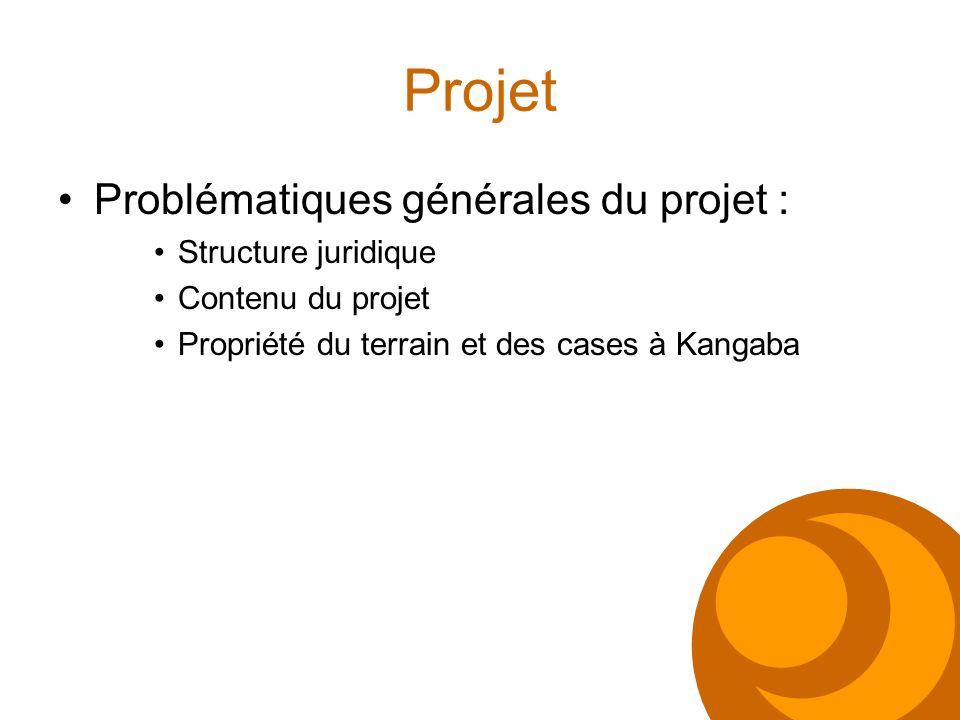 Projet Problématiques générales du projet : Structure juridique Contenu du projet Propriété du terrain et des cases à Kangaba