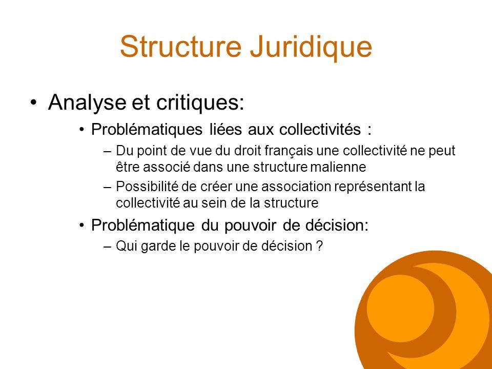 Structure Juridique Analyse et critiques: Problématiques liées aux collectivités : –Du point de vue du droit français une collectivité ne peut être as