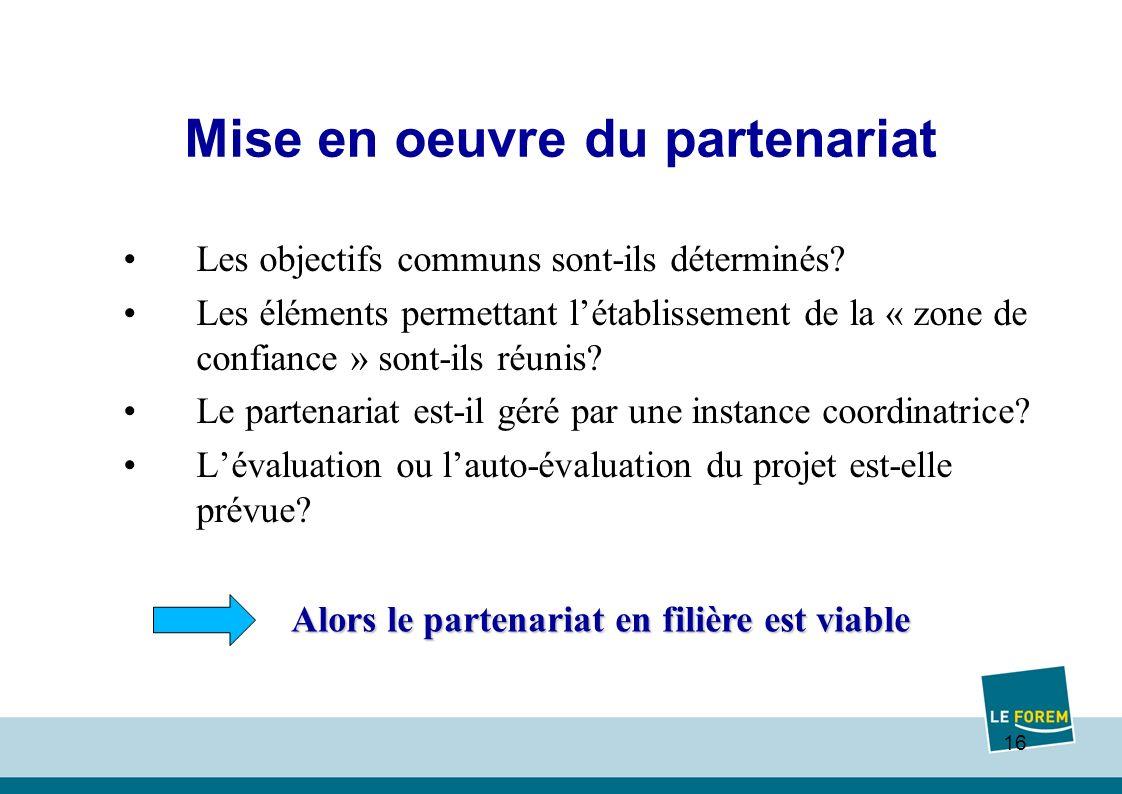 16 Mise en oeuvre du partenariat Les objectifs communs sont-ils déterminés.