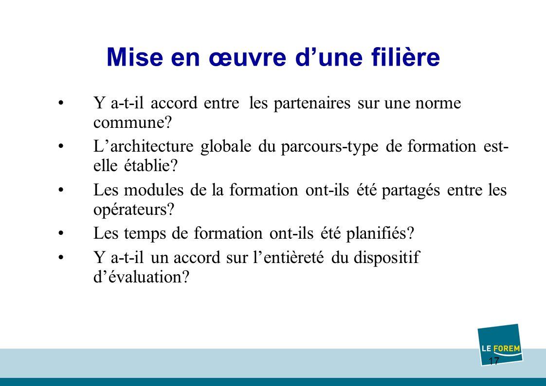 17 Mise en œuvre dune filière Y a-t-il accord entre les partenaires sur une norme commune.