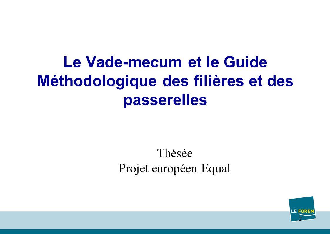 2 Le Vade-mecum et le Guide Méthodologique des filières et des passerelles Thésée Projet européen Equal