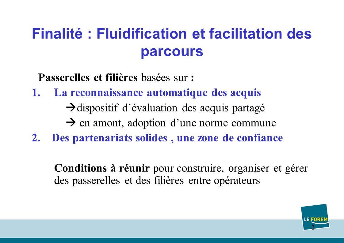 3 Finalité : Fluidification et facilitation des parcours Passerelles et filières basées sur : 1.La reconnaissance automatique des acquis dispositif dévaluation des acquis partagé en amont, adoption dune norme commune 2.
