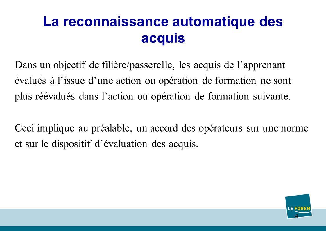 4 La reconnaissance automatique des acquis Dans un objectif de filière/passerelle, les acquis de lapprenant évalués à lissue dune action ou opération de formation ne sont plus réévalués dans laction ou opération de formation suivante.