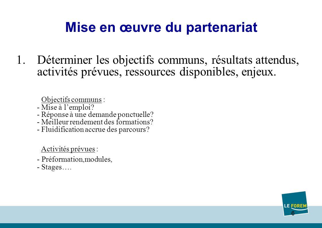 6 Mise en œuvre du partenariat 1.Déterminer les objectifs communs, résultats attendus, activités prévues, ressources disponibles, enjeux.