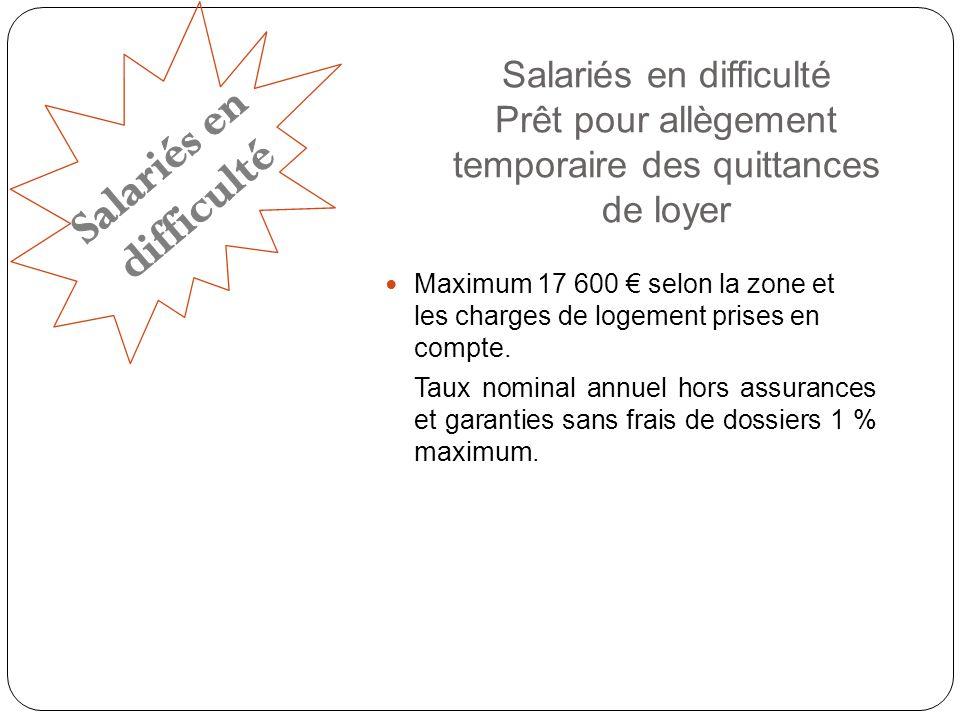 Salariés en difficulté Prêt pour allègement temporaire des quittances de loyer Maximum 17 600 selon la zone et les charges de logement prises en compte.