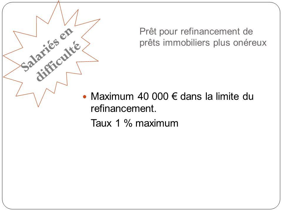 Prêt pour refinancement de prêts immobiliers plus onéreux Maximum 40 000 dans la limite du refinancement.