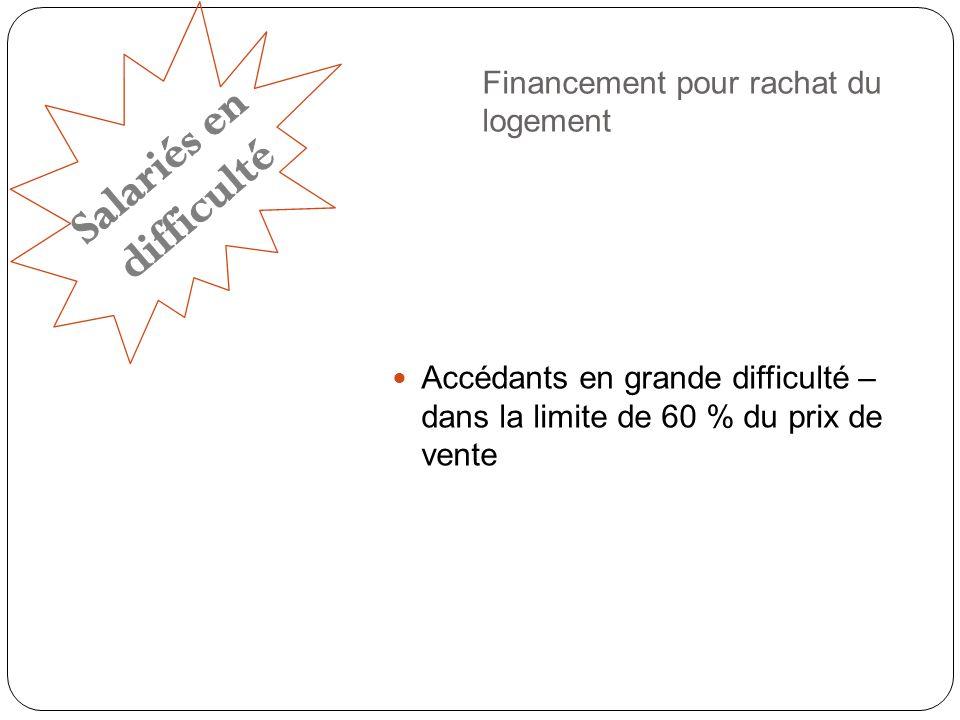 Financement pour rachat du logement Accédants en grande difficulté – dans la limite de 60 % du prix de vente