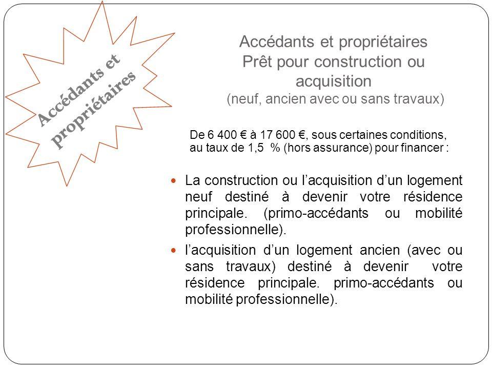 Accédants et propriétaires Prêt pour construction ou acquisition (neuf, ancien avec ou sans travaux) La construction ou lacquisition dun logement neuf destiné à devenir votre résidence principale.