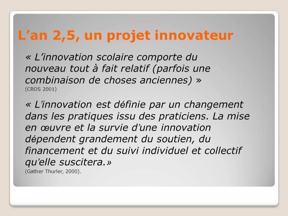 Lan 2,5, un projet innovateur « Linnovation scolaire comporte du nouveau tout à fait relatif (parfois une combinaison de choses anciennes) » (CROS 2001) « L innovation est d é finie par un changement dans les pratiques issu des praticiens.
