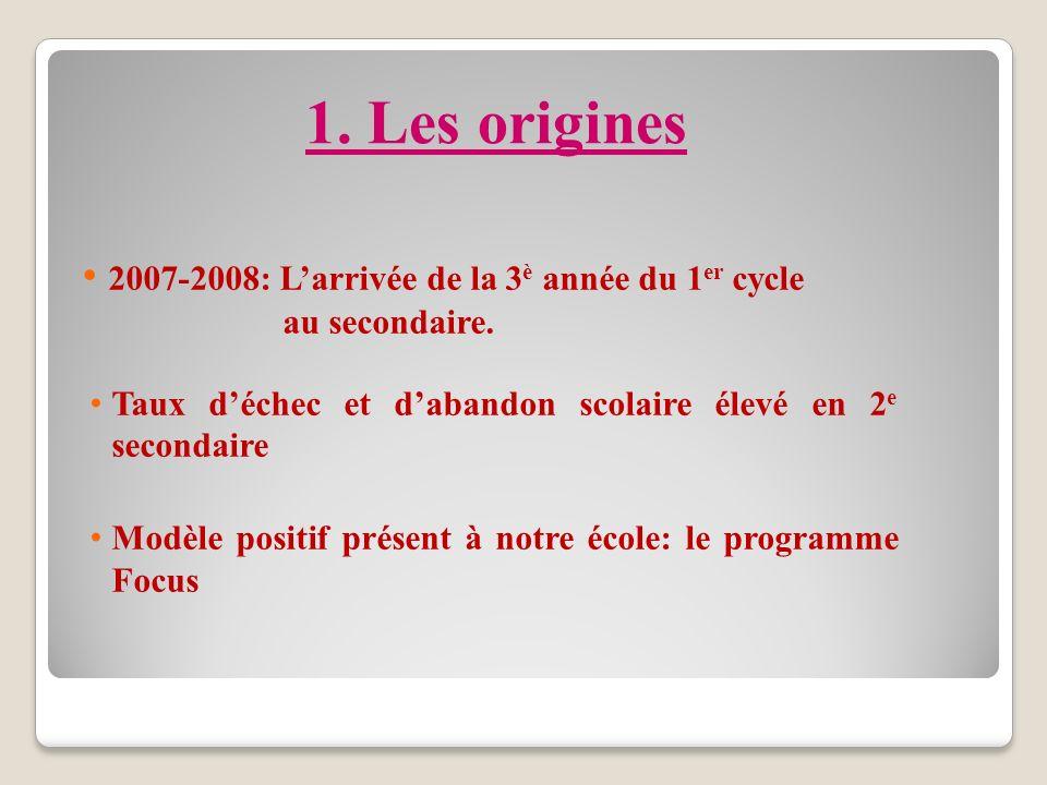 1.Les origines 2007-2008: Larrivée de la 3 è année du 1 er cycle au secondaire.