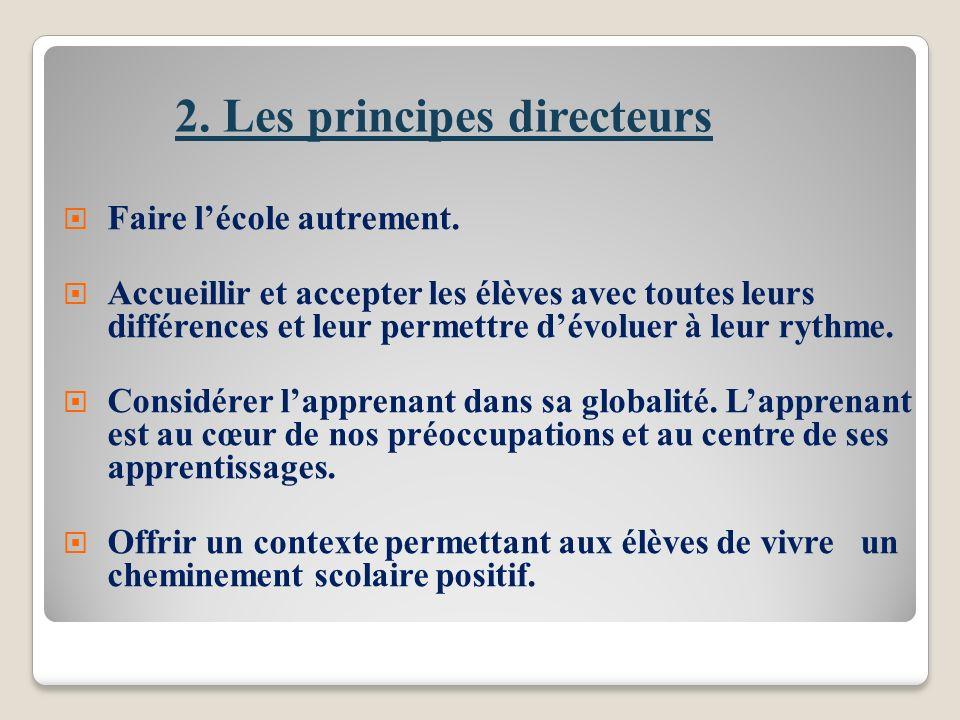 2.Les principes directeurs Faire lécole autrement.