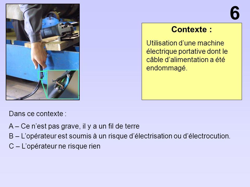 Contexte : Dans ce contexte : A – Lopérateur est soumis à un risque décrasement B – Il faut choisir un opérateur plus petit C – Si lopérateur porte un casque il ne risque rien Conditionnement sur palette.