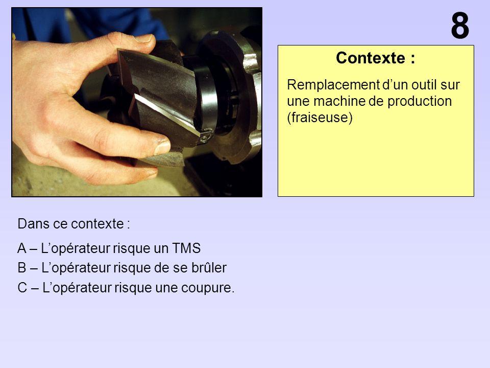 Contexte : Dans ce contexte : A – Lopérateur risque un TMS B – Lopérateur risque de se brûler C – Lopérateur risque une coupure. Remplacement dun outi
