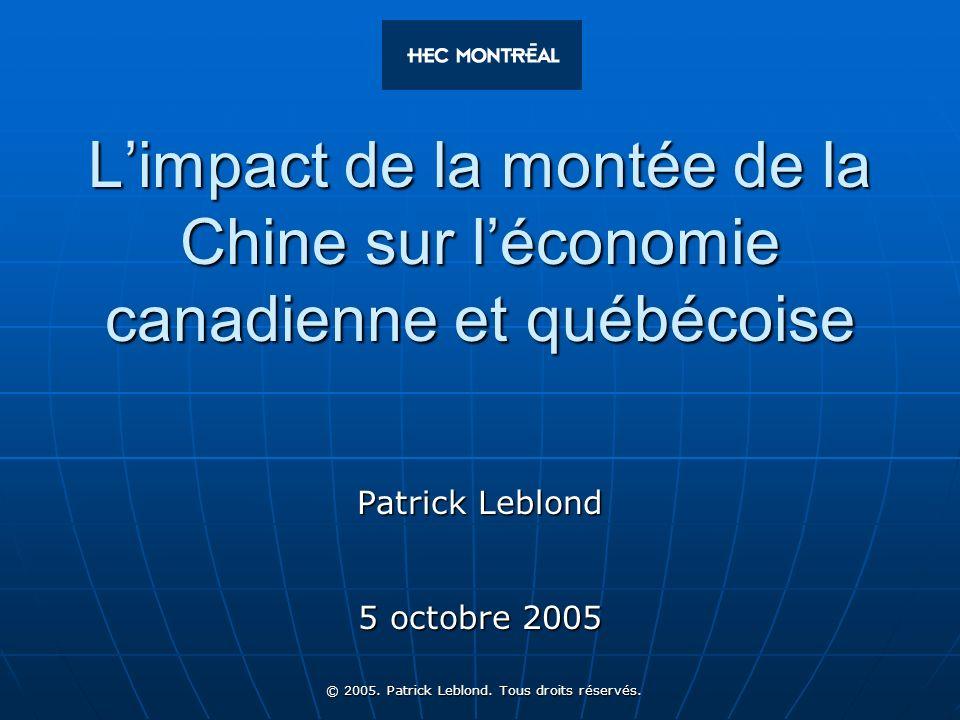 32 © 2005. Patrick Leblond. Tous droits réservés. Surtout, il faut éviter le protectionnisme !
