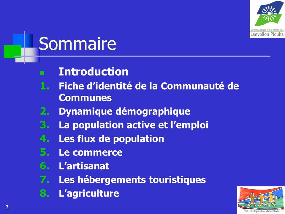 2 Sommaire Introduction 1. Fiche didentité de la Communauté de Communes 2. Dynamique démographique 3. La population active et lemploi 4. Les flux de p
