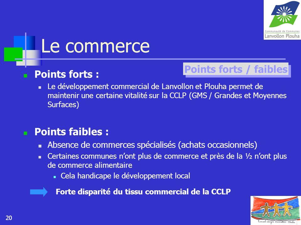 20 Le commerce Points forts : Le développement commercial de Lanvollon et Plouha permet de maintenir une certaine vitalité sur la CCLP (GMS / Grandes