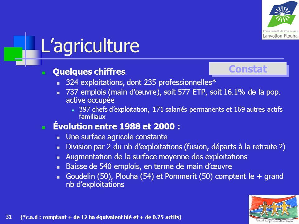 31 Lagriculture Quelques chiffres 324 exploitations, dont 235 professionnelles* 737 emplois (main dœuvre), soit 577 ETP, soit 16.1% de la pop. active
