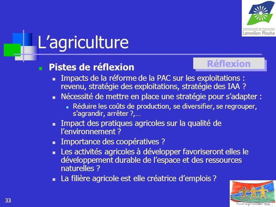 33 Lagriculture Pistes de réflexion Impacts de la réforme de la PAC sur les exploitations : revenu, stratégie des exploitations, stratégie des IAA ? N