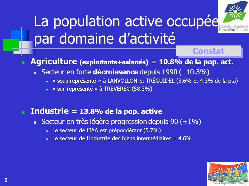 8 La population active occupée par domaine dactivité Agriculture (exploitants+salariés) = 10.8% de la pop. act. Secteur en forte décroissance depuis 1