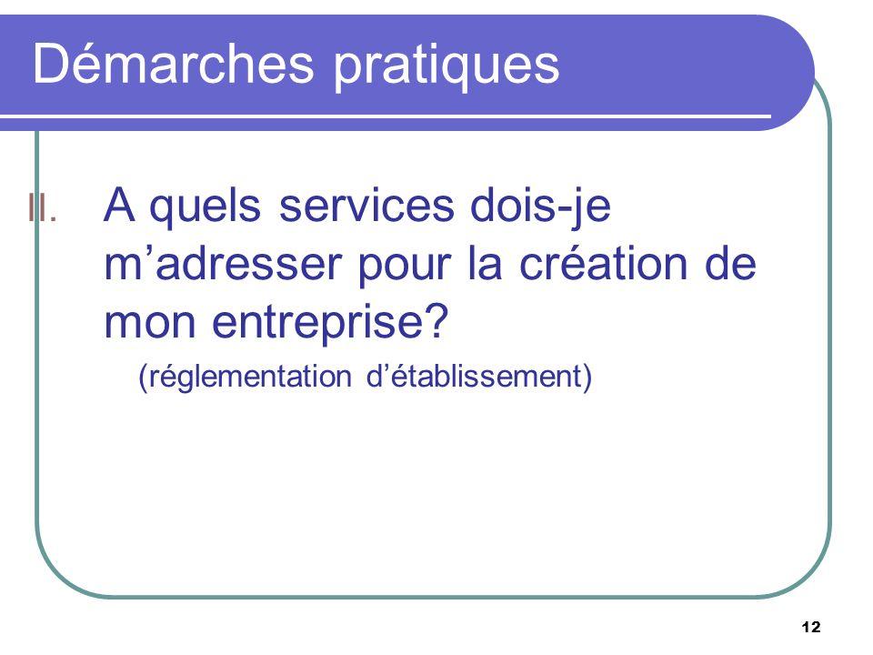 12 Démarches pratiques II. A quels services dois-je madresser pour la création de mon entreprise? (réglementation détablissement)