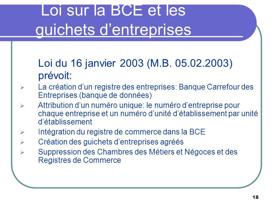 18 Loi sur la BCE et les guichets dentreprises Loi du 16 janvier 2003 (M.B. 05.02.2003) prévoit: La création dun registre des entreprises: Banque Carr