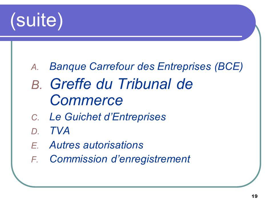 19 (suite) A. Banque Carrefour des Entreprises (BCE) B. Greffe du Tribunal de Commerce C. Le Guichet dEntreprises D. TVA E. Autres autorisations F. Co