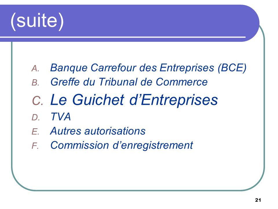21 (suite) A. Banque Carrefour des Entreprises (BCE) B. Greffe du Tribunal de Commerce C. Le Guichet dEntreprises D. TVA E. Autres autorisations F. Co