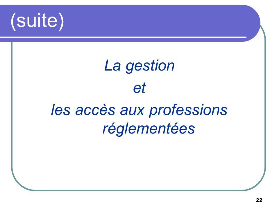 22 (suite) La gestion et les accès aux professions réglementées