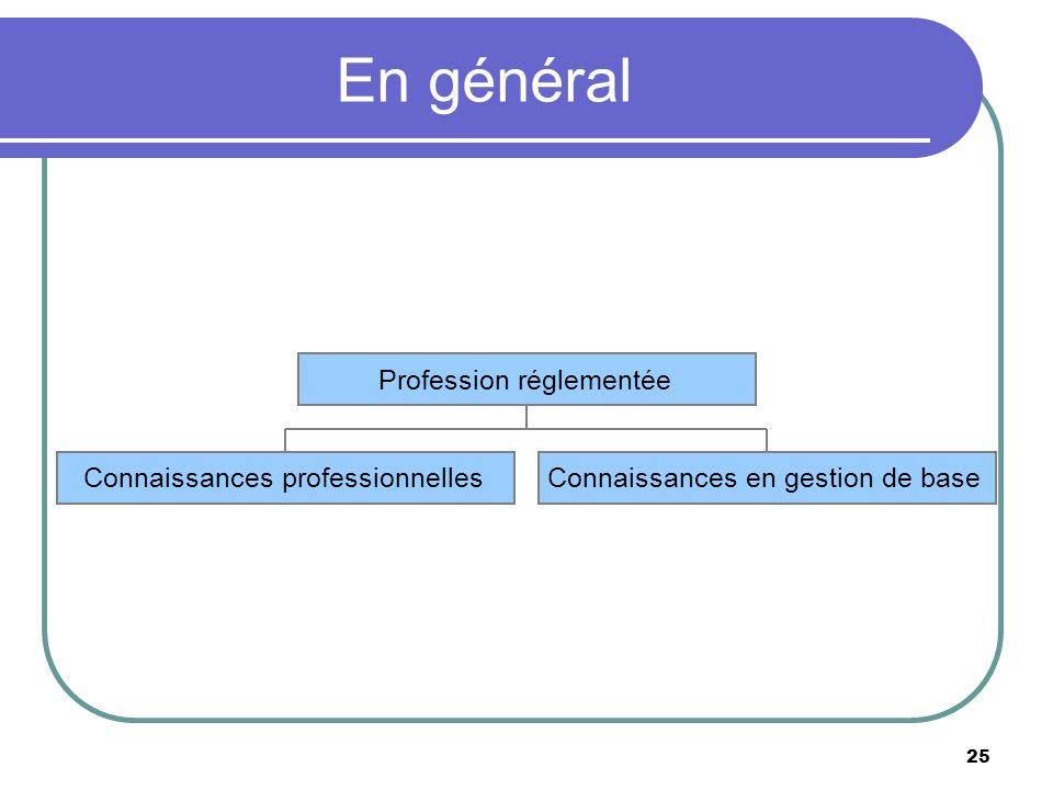25 En général Connaissances professionnellesConnaissances en gestion de base Profession réglementée