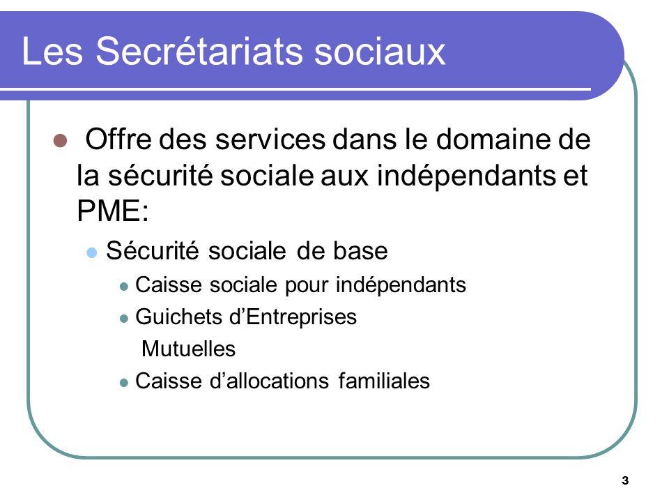3 Les Secrétariats sociaux Offre des services dans le domaine de la sécurité sociale aux indépendants et PME: Sécurité sociale de base Caisse sociale