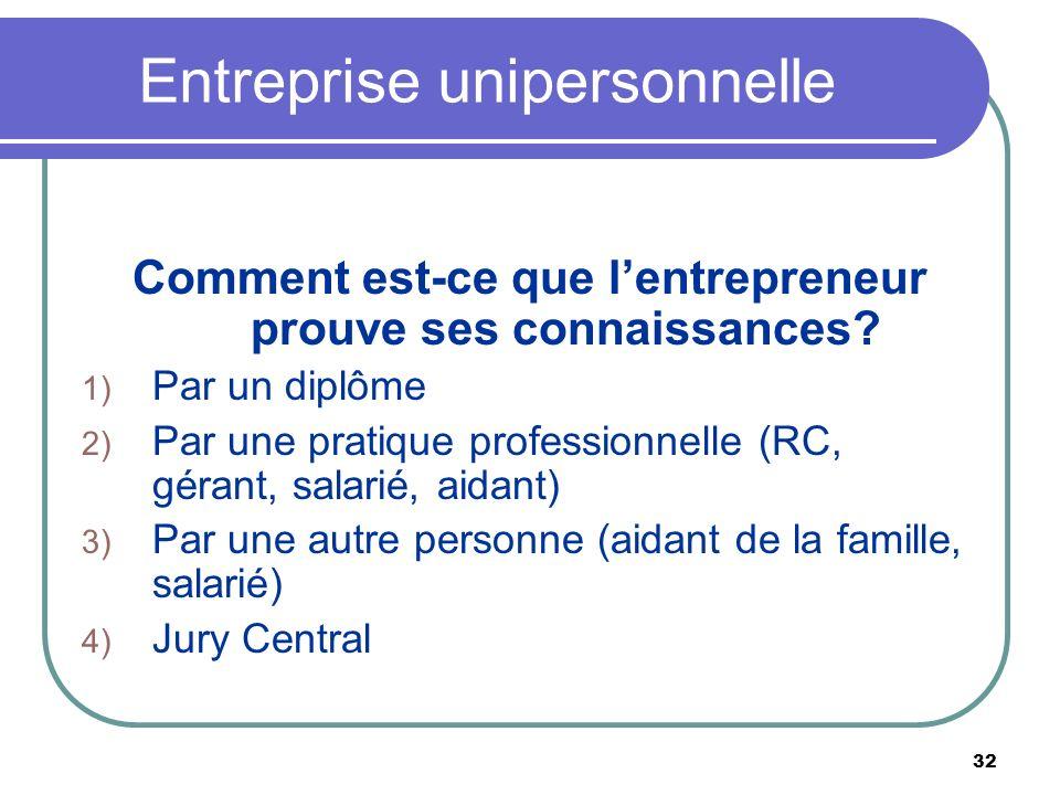 32 Entreprise unipersonnelle Comment est-ce que lentrepreneur prouve ses connaissances? 1) Par un diplôme 2) Par une pratique professionnelle (RC, gér