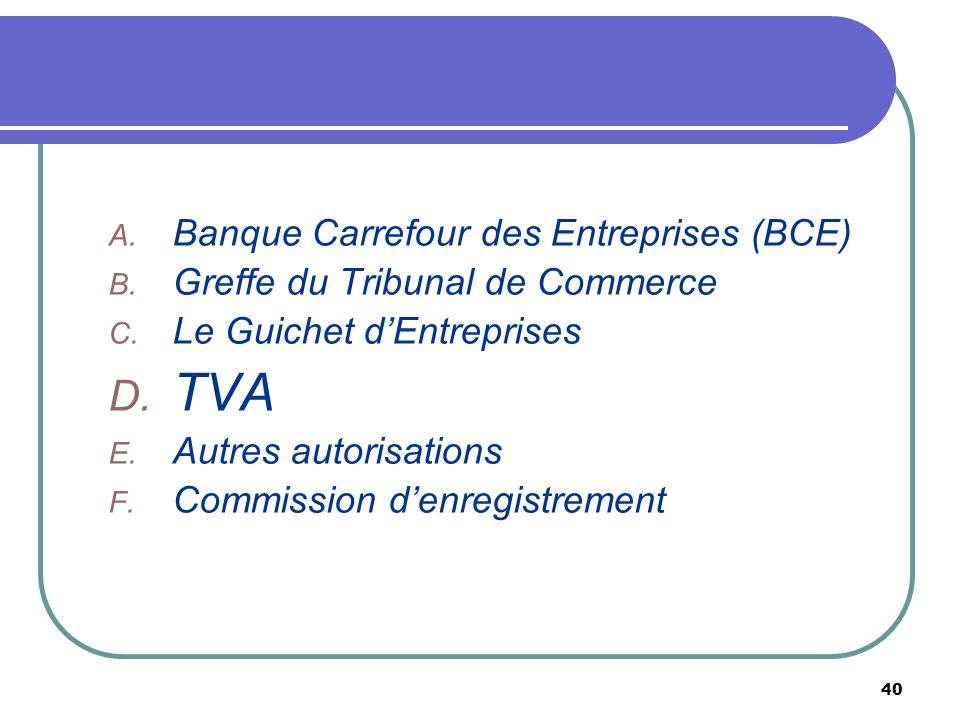 40 A. Banque Carrefour des Entreprises (BCE) B. Greffe du Tribunal de Commerce C. Le Guichet dEntreprises D. TVA E. Autres autorisations F. Commission