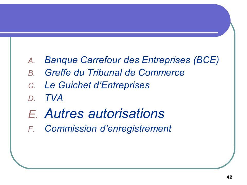 42 A. Banque Carrefour des Entreprises (BCE) B. Greffe du Tribunal de Commerce C. Le Guichet dEntreprises D. TVA E. Autres autorisations F. Commission