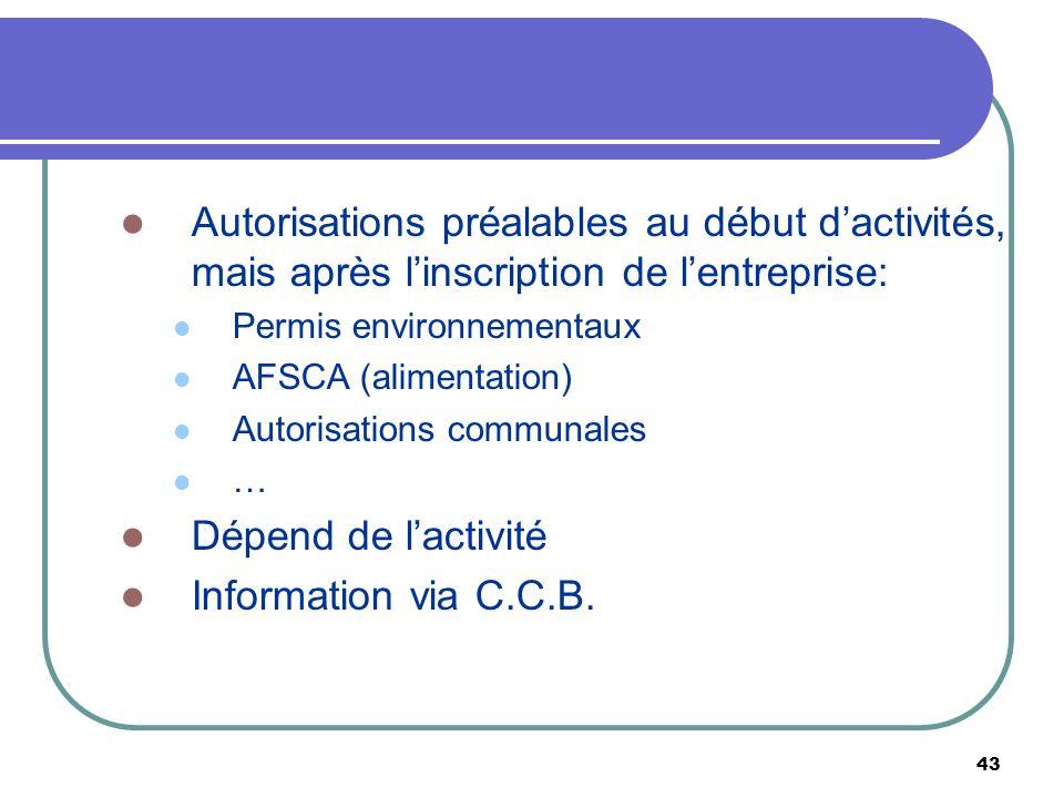 43 Autorisations préalables au début dactivités, mais après linscription de lentreprise: Permis environnementaux AFSCA (alimentation) Autorisations co