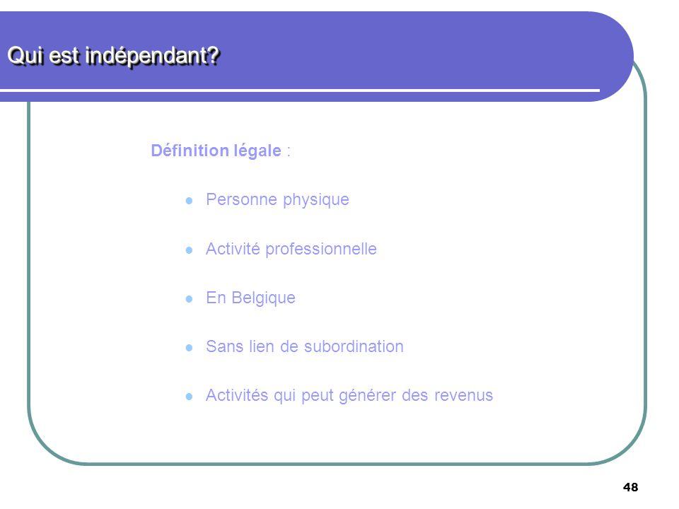 48 Définition légale : Personne physique Activité professionnelle En Belgique Sans lien de subordination Activités qui peut générer des revenus Qui es