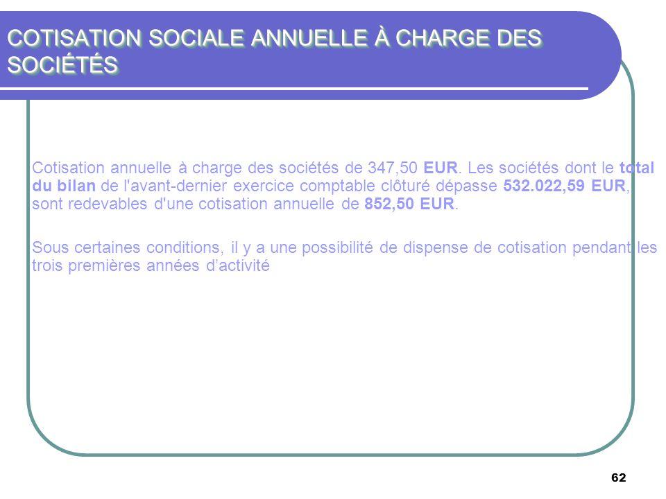 62 COTISATION SOCIALE ANNUELLE À CHARGE DES SOCIÉTÉS Cotisation annuelle à charge des sociétés de 347,50 EUR. Les sociétés dont le total du bilan de l