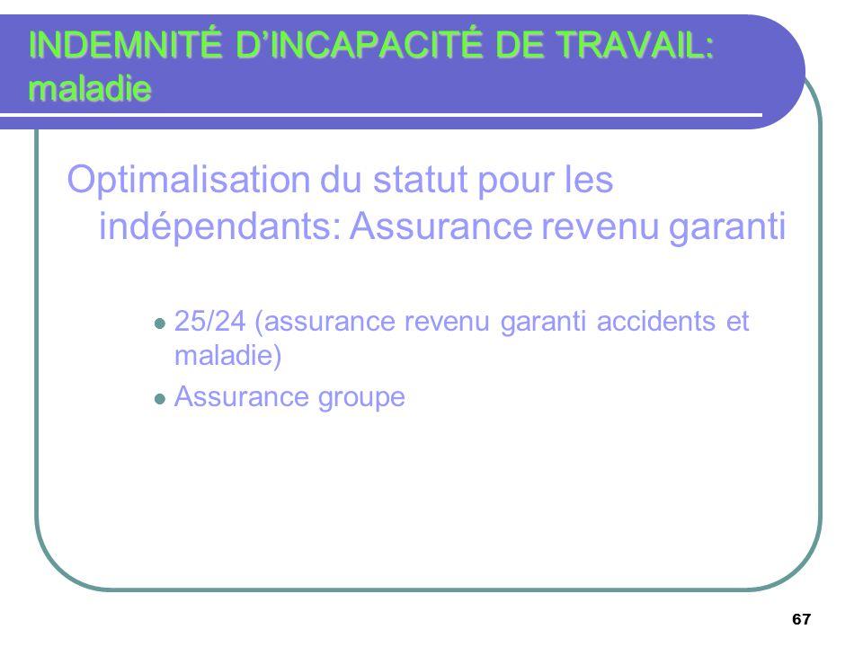 67 INDEMNITÉ DINCAPACITÉ DE TRAVAIL: maladie Optimalisation du statut pour les indépendants: Assurance revenu garanti 25/24 (assurance revenu garanti