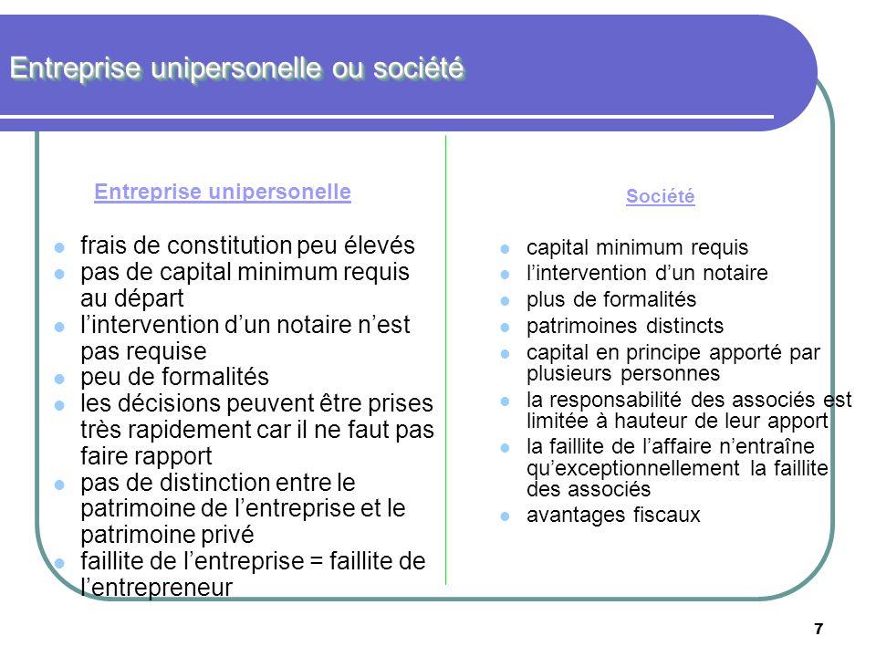 7 Entreprise unipersonelle ou société Entreprise unipersonelle frais de constitution peu élevés pas de capital minimum requis au départ lintervention