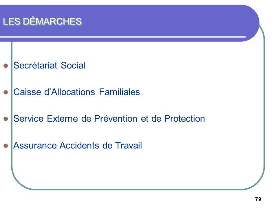 79 LES DÉMARCHES Secrétariat Social Caisse dAllocations Familiales Service Externe de Prévention et de Protection Assurance Accidents de Travail