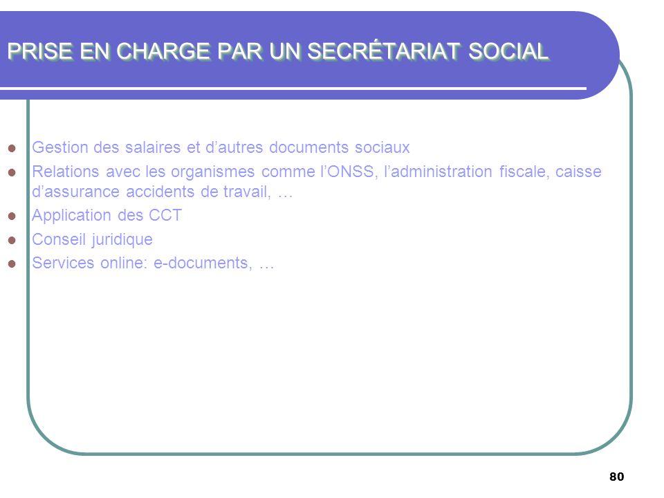 80 PRISE EN CHARGE PAR UN SECRÉTARIAT SOCIAL Gestion des salaires et dautres documents sociaux Relations avec les organismes comme lONSS, ladministrat