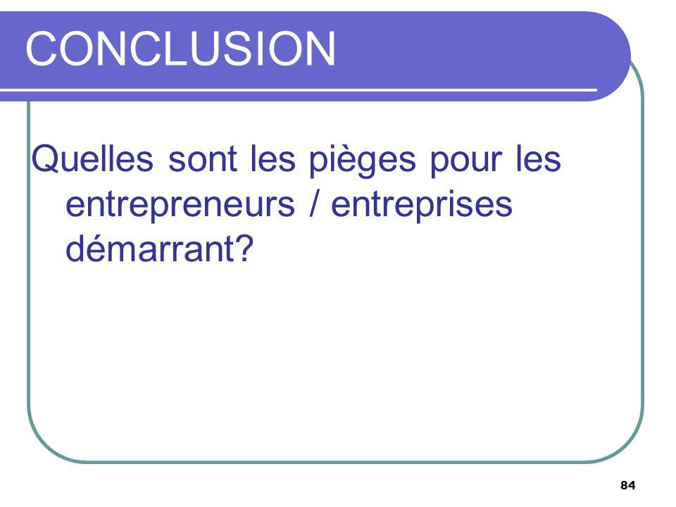84 CONCLUSION Quelles sont les pièges pour les entrepreneurs / entreprises démarrant?