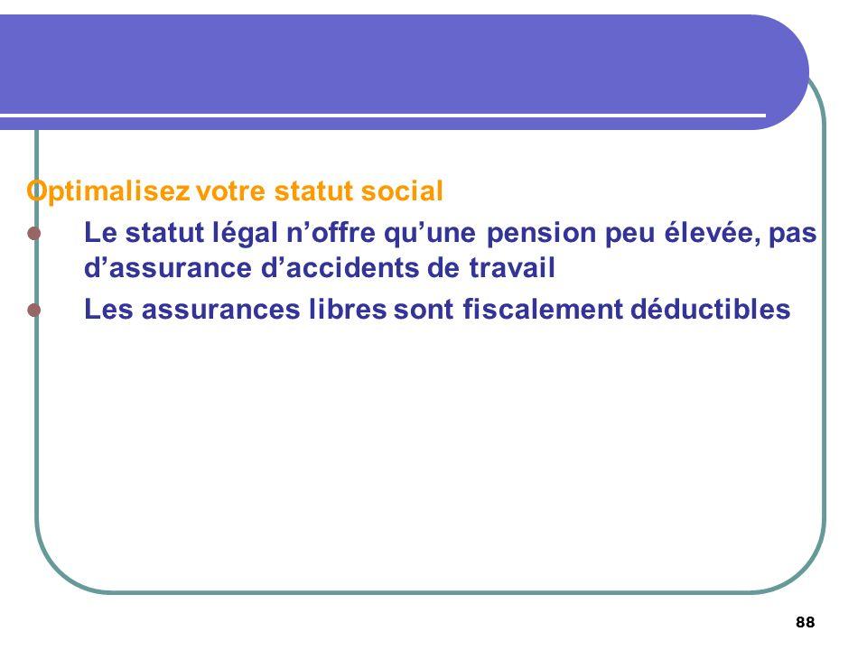 88 Optimalisez votre statut social Le statut légal noffre quune pension peu élevée, pas dassurance daccidents de travail Les assurances libres sont fi